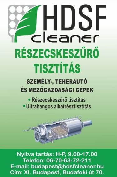 Részecskeszűrő tisztítás Budapest - HDSF Cleaner